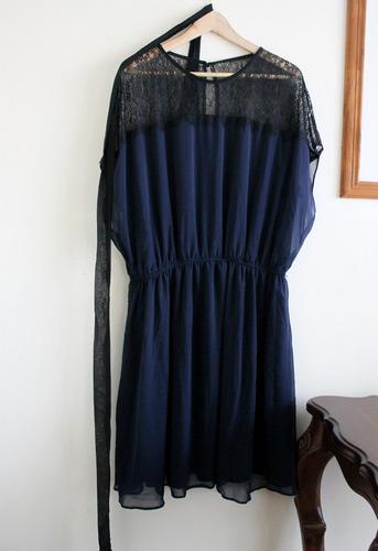 vestido asos gasa y encaje negro azul medianoche t46/48