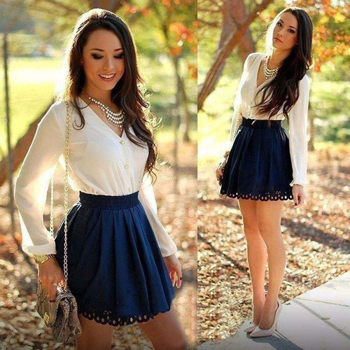 vestido azul blanco corto manga larga summer casual polyeste