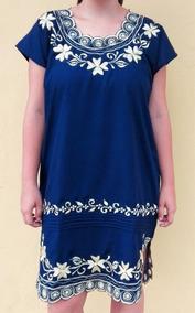 Vestido Azul Bordado Y Calado Artesanal Yucateco