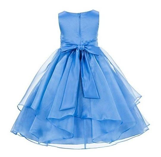 Vestido Azul Celeste De Niña Elegante Organza Fiesta Boda