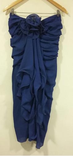 vestido azul con capas de gasa y aplique talle m fiesta