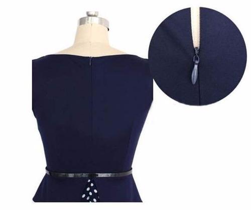 vestido azul con lunares (010123) elbauldecorina