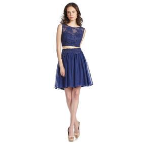 Vestido Azul Corto Con Encaje Y Transparencias Eva Brazzi