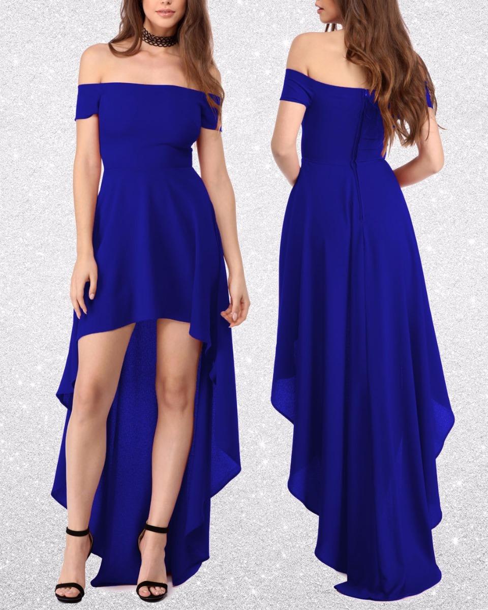 Vestido Azul Corto Largo Asimetrico Al Hombro De Fiesta Gala ...