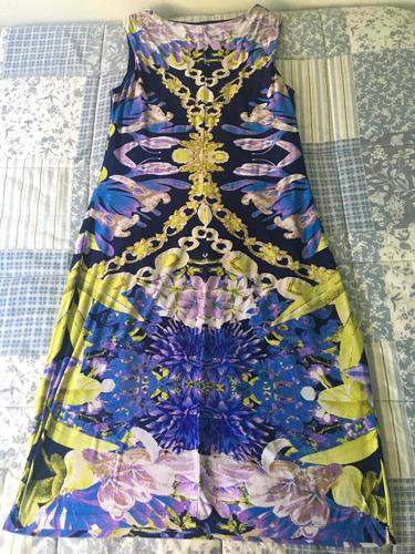 vestido azul estampado talle m de la opera