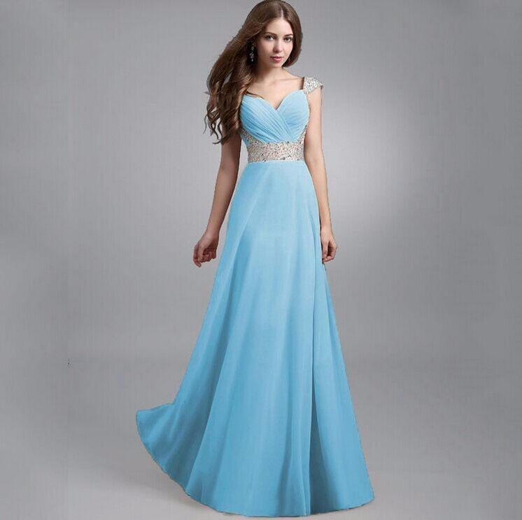 Vestido azul largo fiesta