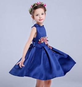Vestido Azul Floral De Fiesta Talla 4 A 5 Anos