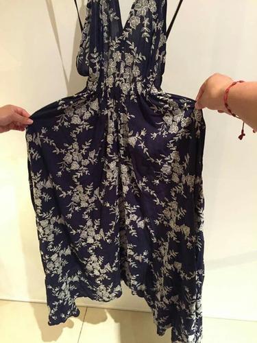 vestido azul flores blancas studio f