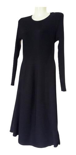 vestido azul manga larga tejido finito azul h&m talla m
