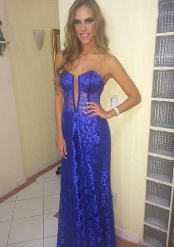 vestido azul maravilhoso (acompanha echarpe) tamanho 38