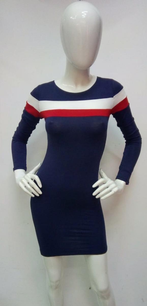 Vestido azul con blanco y rojo