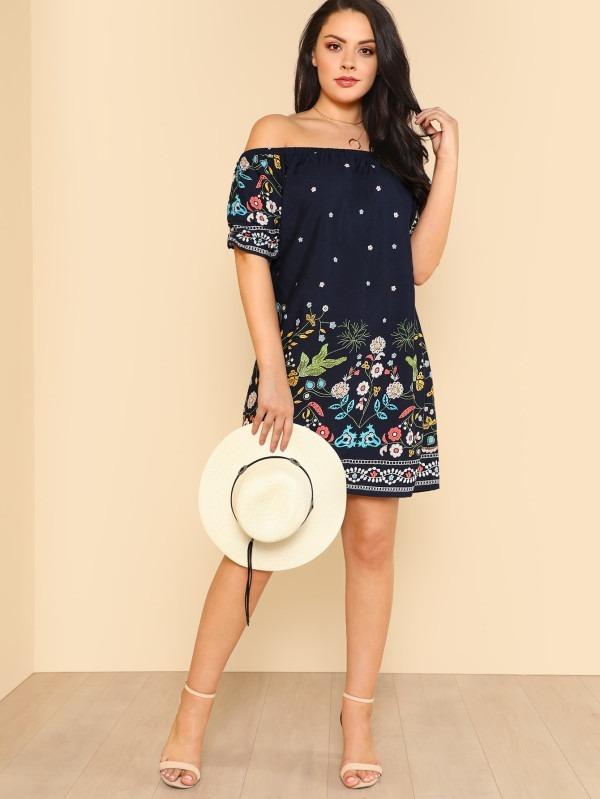 Vestido Azul Marino Floreado, Shein Nuevo Talla 3xl