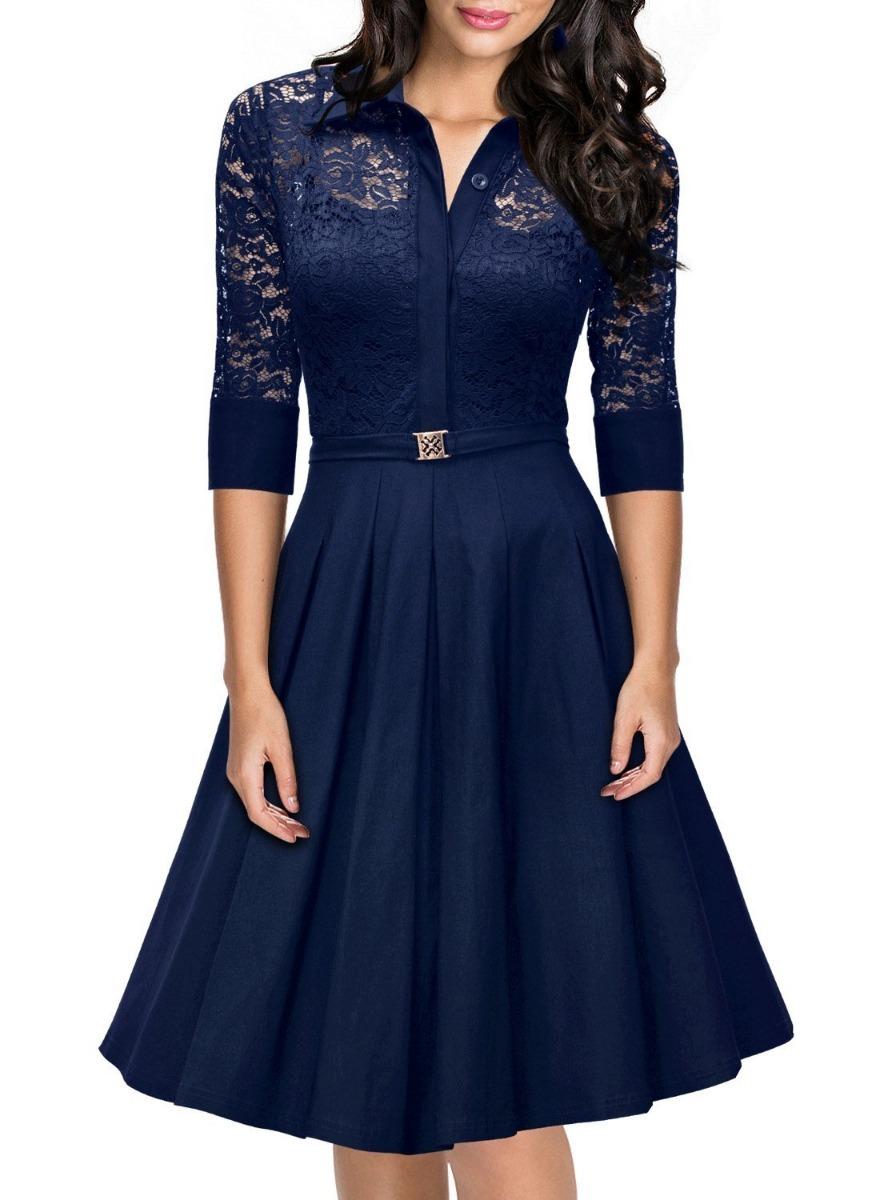 Vestido azul marino vintage