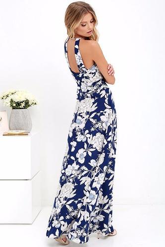 vestido azul maxi largo bohemio playero vd 63