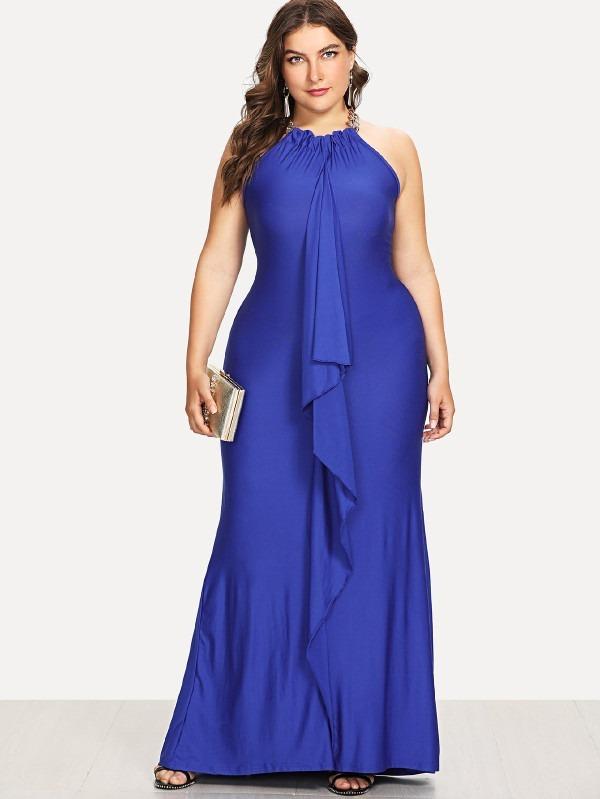 7707c5388 Vestido Azul O Negro Largo De Fiesta Tallas Extras 2xl Y 3xl ...