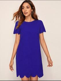Vestido Azul Rey Casual Hermoso Importado Modelo En Ribete