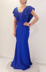 Vestido Azul Rey Con Olanes Red Carpet