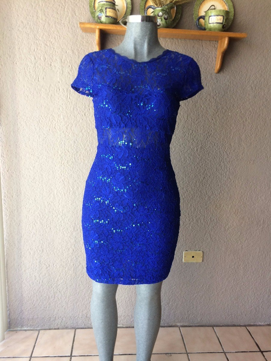 Vestido azul rey corto con encaje