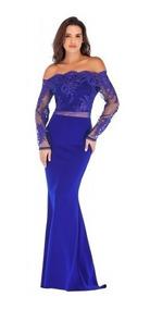 Vestido Azul Rey Fiesta Sin Hombros Encaje Corte Sirena Moda
