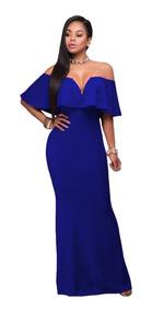 Vestido Azul Rey Largo Hombro Fiesta Boda