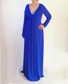 Vestido Azul Rey Manga Larga Talla Extra Red Carpet