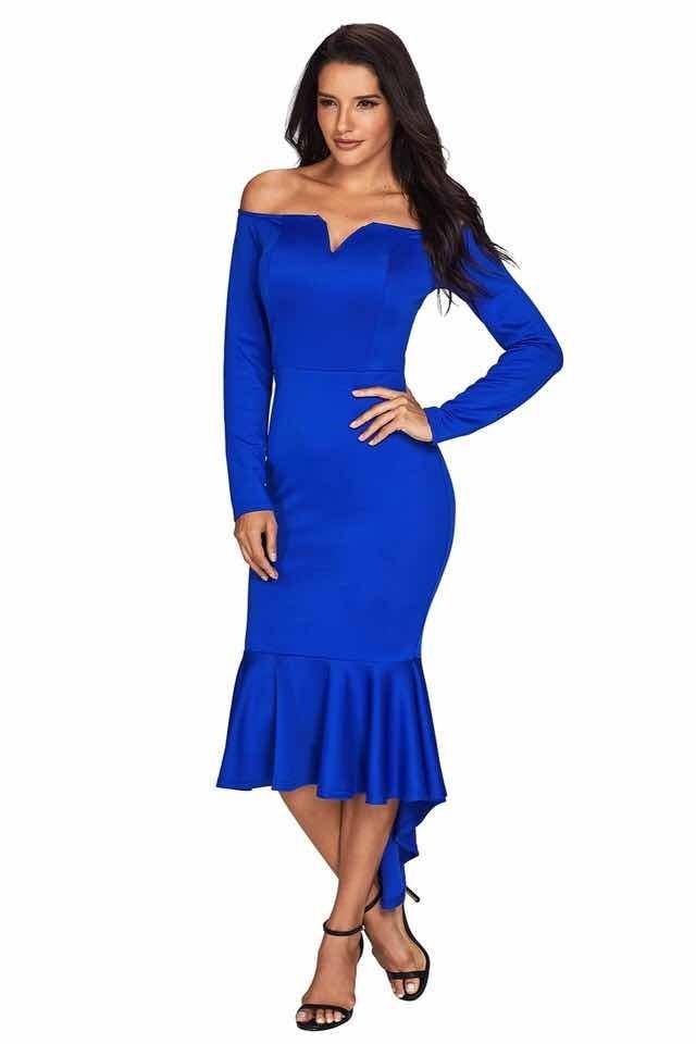 Vestidos manga larga azul rey