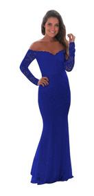 Vestido Azul Rey Negro Fiesta Encaje Stretch Largo Boda