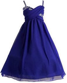 Vestido Azul Rey Para Niña Fiesta Graduacion Cumpleaños Boda