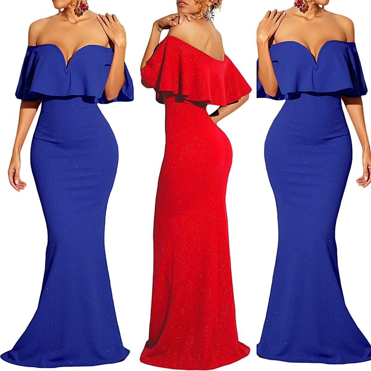 Vestido azul y rojo
