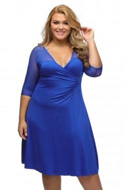 c97322f24 Vestido Azul Rey Tallas Extras Grandes Plus Mangas Spandex ...