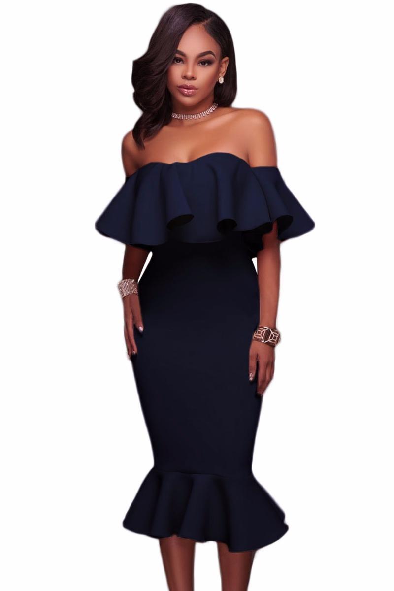 3febb2797 vestido azul rodilla coctel fiesta boda olan hombros spandex. Cargando zoom.