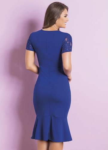 vestido azul royal de festa moda evangélica babado justo