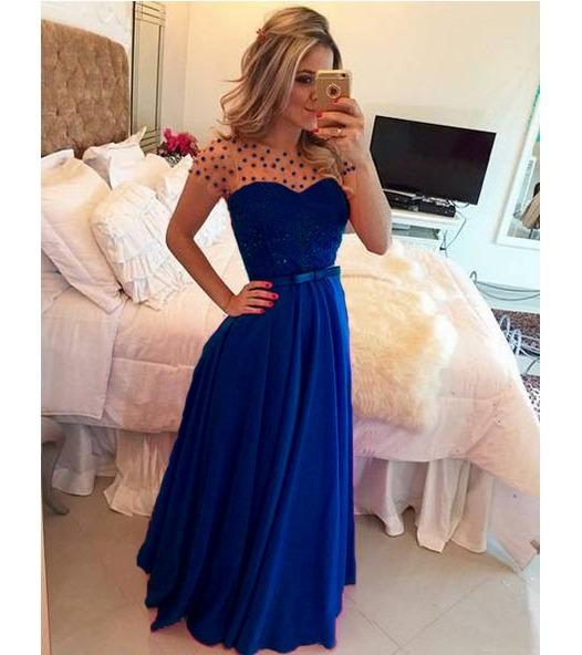 Vestido azul royal gode
