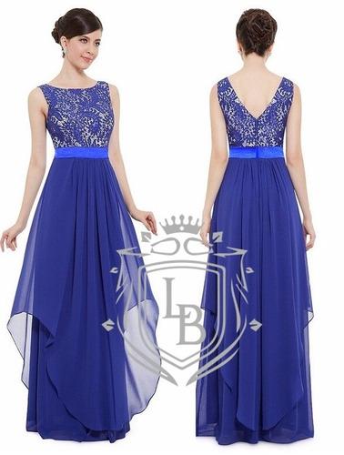 vestido azul royal renda formanda madrinha festa pronta ent