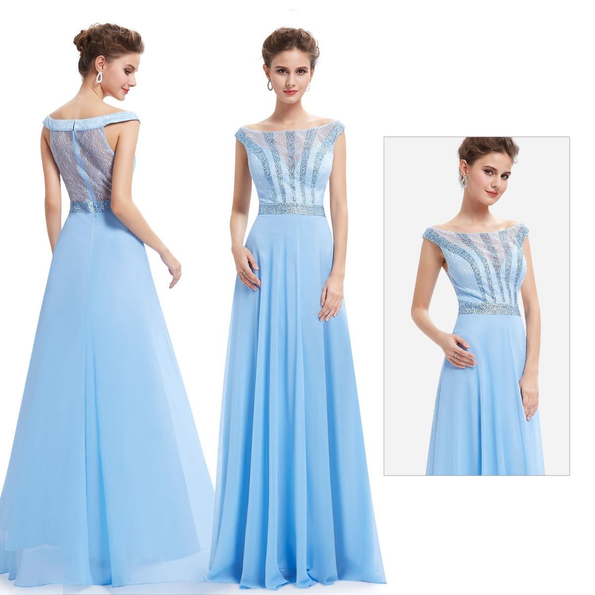 Vestido de madrinha azul pastel