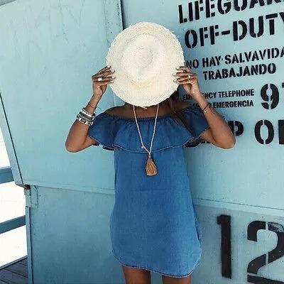 vestido azul simple. talla m