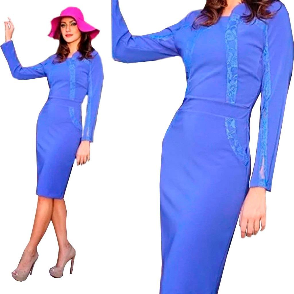 Vestido azul de manga comprida