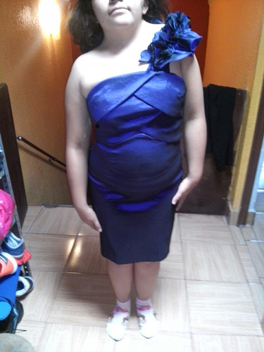 vestido azul tornasol talla 7, ajustable, impecable