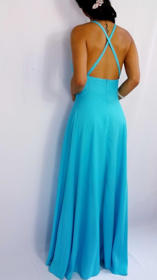 Vestido Azul Turquesa Tiffany Costa Nua Longo Festa Madrinha