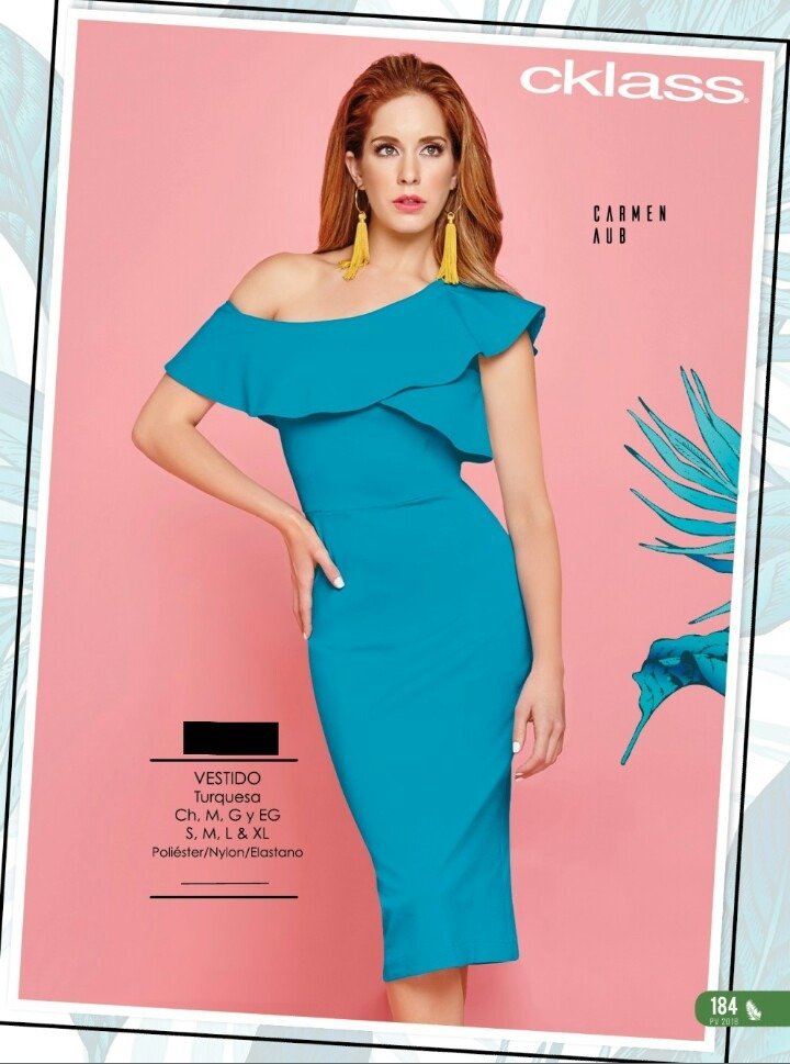 Vestido Azul Turquesa Un Hombro Olanes Ajustado Cklass - $ 520.00 en ...