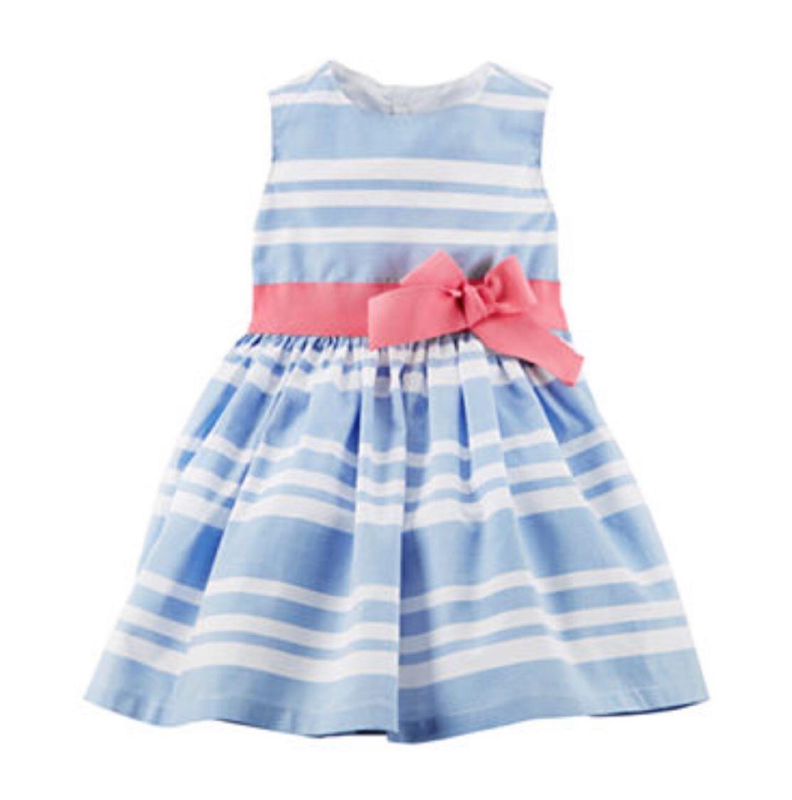 Vestido Azul Y Blanco Carters Talla 18 Meses