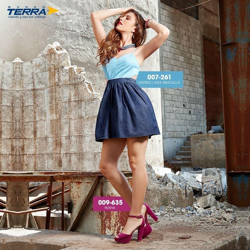 76531f3f Vestido Azul/mezclilla 007261 Mundo Terra Outlet/saldos Mchn ...