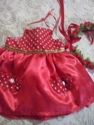 vestido baby alive com tiara de flores ou meia