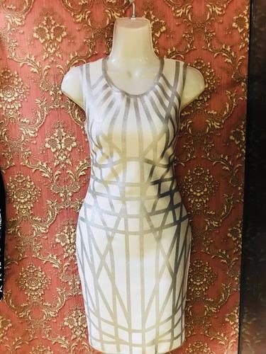 vestido bandage blanco con plateado