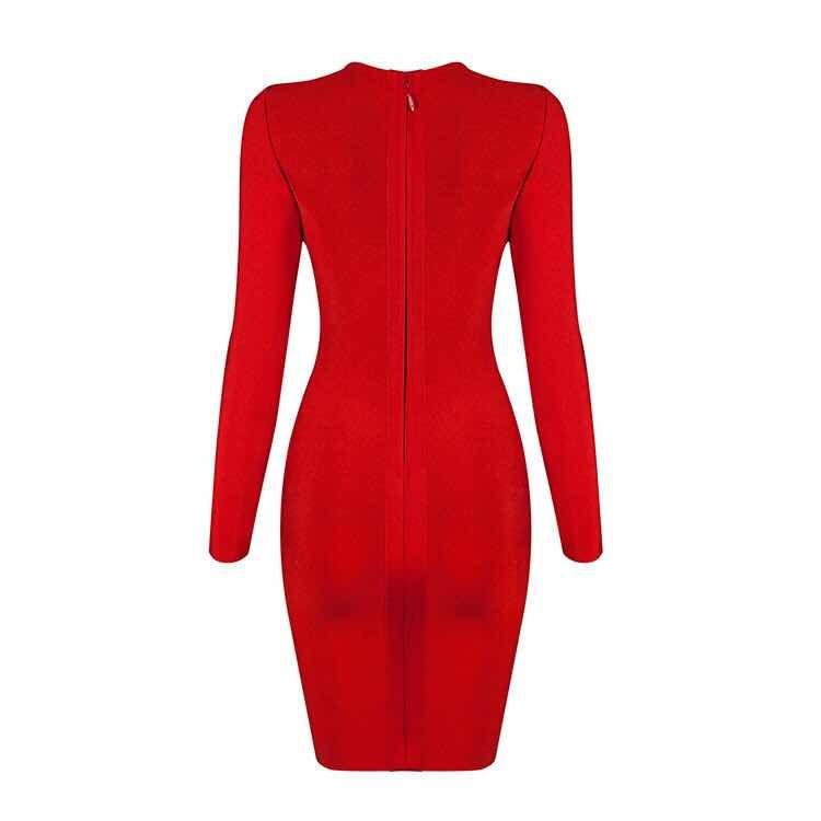 Vestido bandage rojo manga larga