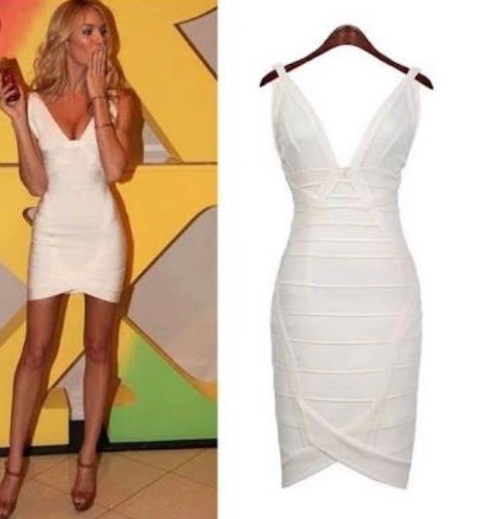 f61721e92 Vestido Bandagem Decote Offwhite Branco Réveillon Festa - R  409