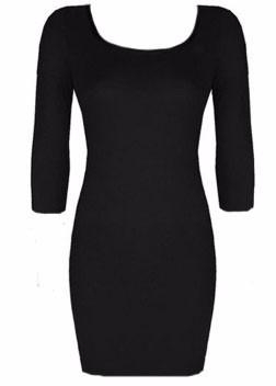 vestido básico algodón manga 3/4 entallado mujer invierno