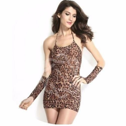 vestido basico animal print con mitones na-21505