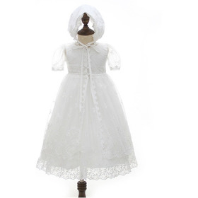 Vestido Batizado Longo Mandrião Capa Touca Ou Curto Touca
