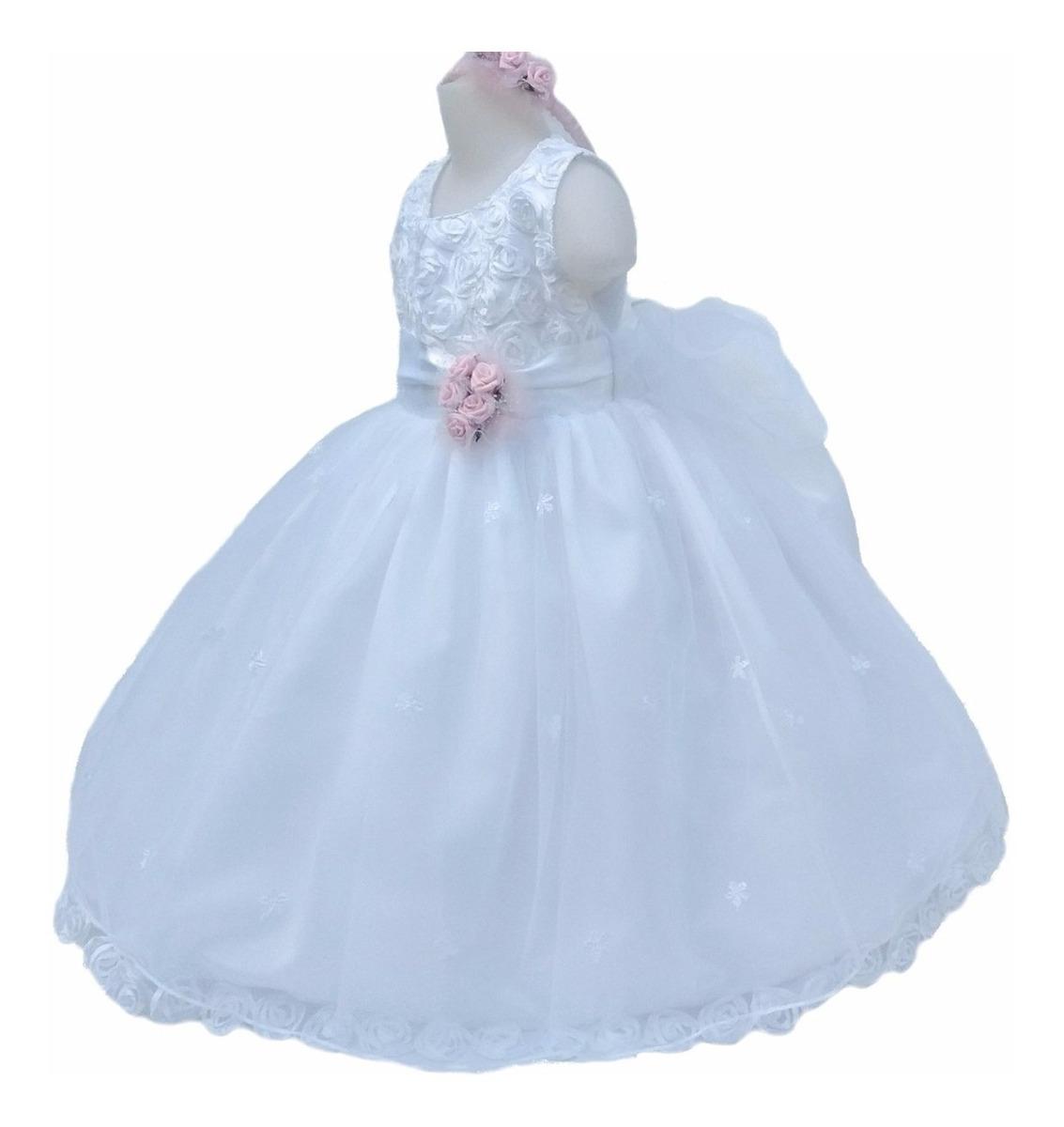 e689a0db5 Vestido Bautismo Tul Bordado Rosas Armado Con Vincha - $ 2.190,00 en ...